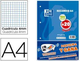 RECAMBIO A4 4MM 100 + 20 HOJAS GRATIS OXFORD (PAPELERIA)